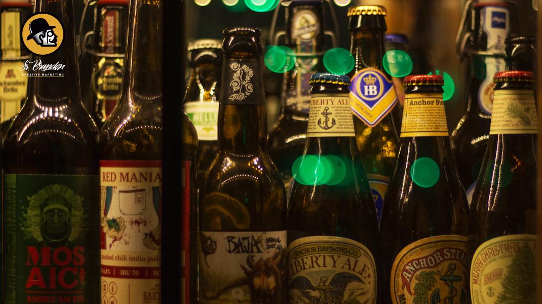 Fotografía de las diferentes gamas de cerveza para la cervecería The Garrison, Jaén. El valor de la imagen.